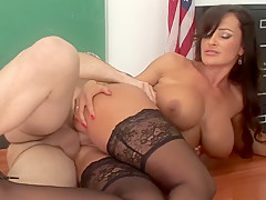Crazy pornstar Lisa Ann in amazing mature, lingerie sex clip