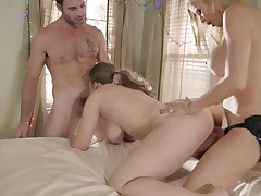 Mom and daughter extreme bisexual threesome