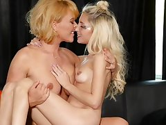 Mature and teen in spicy lesbian oral scenes