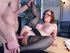 Secretary fucked hard and made to swallow boss's jizz