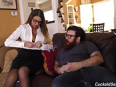 Brooklyn Chase cuckolds the brush man and fucks two big black cocks