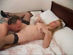 Chubby housewife Chloe spreads legs and gets meaty cunt licked