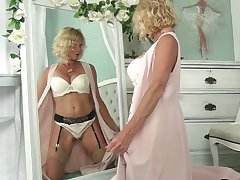 Blond cougar encircling sexy lingerie Molly Maracas admires mortal physically and masturbates