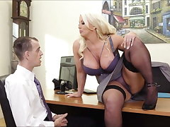 Big tits in office: dominate MILF boss with an increment of her male employee