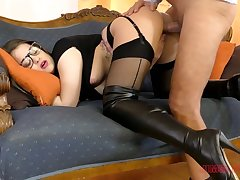 Sexy long-legged babe in black stuff Angelina Brill wanna be poked doggy