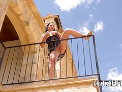 German babe Ashley Louring fucked on transmitted to balcony
