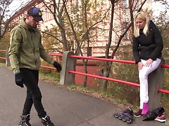 Blonde teen Sindy Rako picked up on the street for a charge from