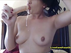 Hard Blowjob with Dildo Overlapped Dripping on Tits