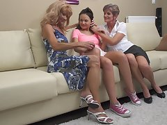 Carla S. gets seduced by mature lesbians into a triplet