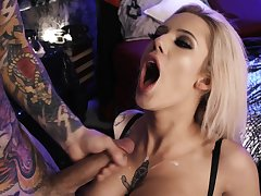 Blonde starlet fucked merciless added to jizzed on tits