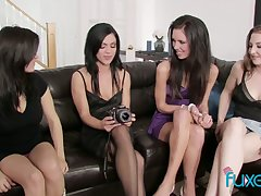 Unforgettable butch orgy featuring four oversexed gorgeous girlfriends