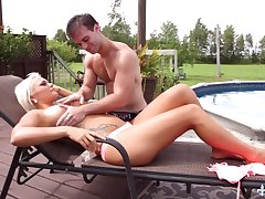 Unforgettable quickie with tanned blond goddes Jessie Storm away from the poolside