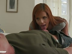 Torrid redhead with sexy rack Scarlett Mae gives staggering deepthroat BJ