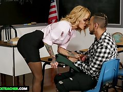 MILFie tutor with gorgeous strapping boobies Sarah Jessie is fucked on desk