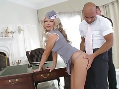horny blonde Sveta wants to have a passion with two friends in make an issue of lux office