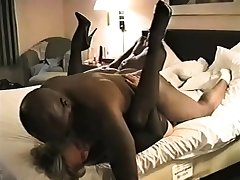 Hairy pussy mature in stockings fucking in bed