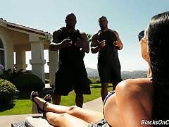 Jasmine Jae hires two fitness instructors plus then fucks them handy her place