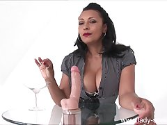 Full-Breasted Redbone Mature Plays With Big Fake Cock
