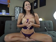 Reagan Foxx with fake tits gets her pussy pleased by himself