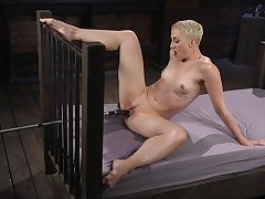 Milf with short hair, enjoyment from machine solo