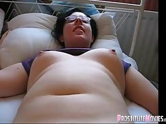 Chubby brunette nerd groped a dildo and wants more
