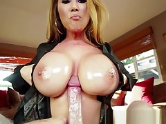 Oiledup MILF tittyfucking and sucking adjacent to POV