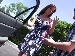 Red haired grown up woman with fake boobs Syren De Mer bangs three nerd dude