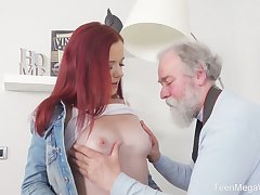 Torrid redhead Tiffani Love flashes her bum and gets fucked unconnected with old photographer