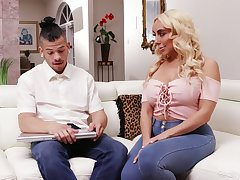 Young language tutor has the honor to fuck bodacious busty blonde Kylie Kingston